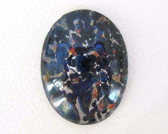 Vintage Glass Cabochon Black Sapphire Silver Faux Opal Fire Harlequin Oval 40x30mm gcb0842 (1)