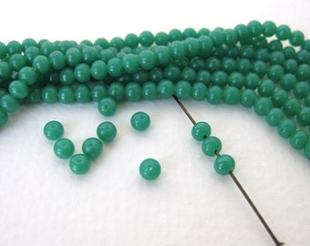 Vintage Japanese Beads Cherry Brand Jade Green Glass Rounds 4mm vgb0687 (30)