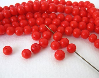 Vintage Japanese Beads Cherry Brand Bright Red Glass Rounds 6mm vgb0700 (15)