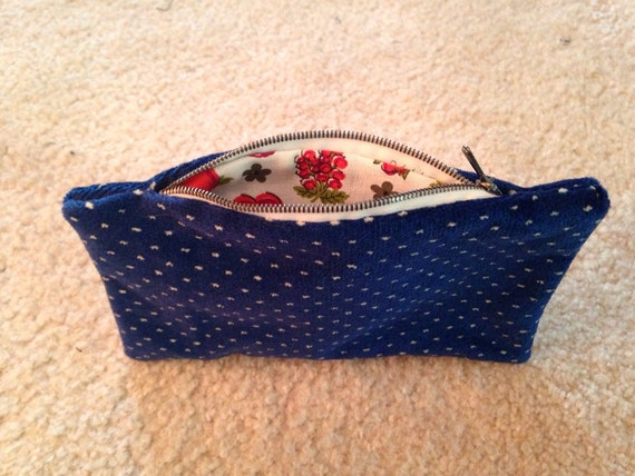Royal Blue with White Dots Zippered Clutch Eco Friendly