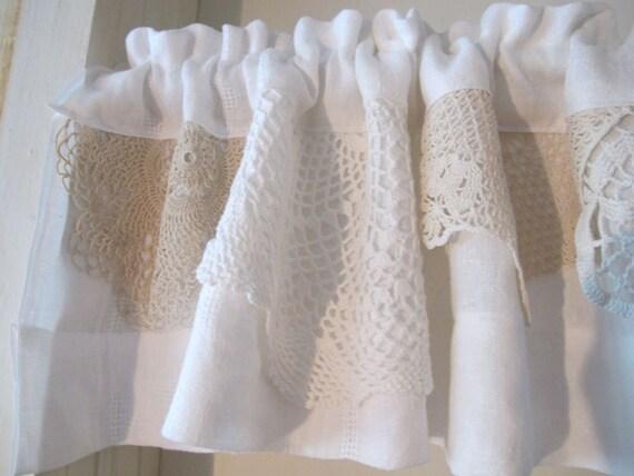 Vintage White Doily Valance Upcycle Linens Window Valance