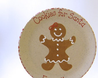 Gingerbread Girl Cookies For Santa Plate - Personalized Christmas Plate - Santa Cookie Plate - Christmas Keepsake Plate - Heirloom Plate