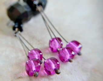 Dangling glass bead earrings, oxidized brass, fuchsia and black beads, boho earrings - Night Garden