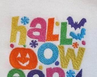 Halloween word block onesie