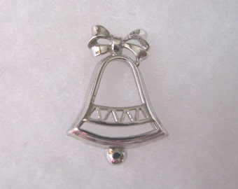 Vintage Avon silver Holiday Christmas bell  pin brooch tie tac