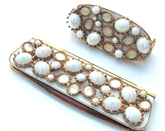 Vintage Travel Lipstick Mirror Comb Ornate White Jeweled Case Purse Bag