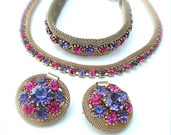WEISS Brooch Bracelet Necklace Parure Purple Pink Gold Mesh Jewelry Set