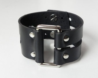 Rectangle Metal Link Wide Black Leather Cuff Leather Bracelet