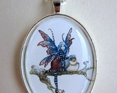 Fairy and Baby Bird necklace by Amy Brown