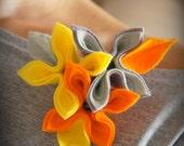 felt brooch tangerine brooch orange gray flowers flower woman pin eco friendly