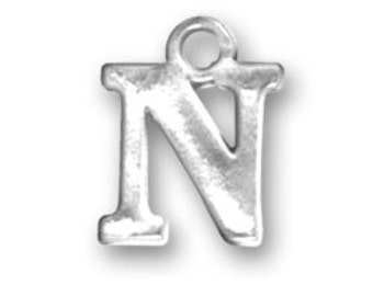 Sterling Silver Letter N Charm, Initial Charm