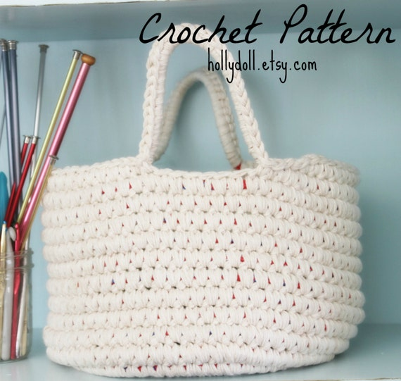 Crochet Pattern-Sturdy Cotton Basket- For the Home