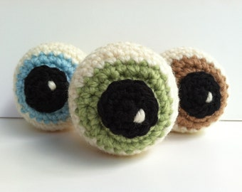 Baby Rattles Crochet Zombie Eyeball Crochet Cat Toys (Blue, Green,& Tan) - Set of 3 Plushie Eyeball Gift Under 25 Plush Toy Baby Shower Gift