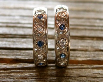 Diamond and Blue Sapphire Wedding Rings in 14K White Gold with Scroll Motif Size 6 & 7