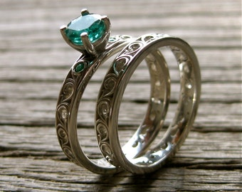 Emerald Engagement Ring & Wedding Band in Sterling Silver with Scroll Pattern Size 7
