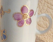 5 - Pink, Purple and Blue Flower  Mugs