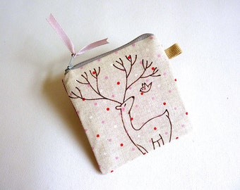 Deer Coin Purse, Coin Purse, Illustrated Purse, Fabric Pouch, Small Pouch, Zipper Coin Purse, Small Change Purse - Deer