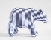 Polar Bear stuffed striped blue and white handmade toy