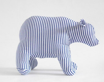 Polar Bear stuffed striped blue and white handmade toy