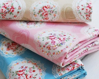Shabby Chic Rose Floral Bouquet Lace Frame Circle Heart Lace -Cotton Fabric (1/2 Yard, Choose Color)