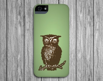 Owl iPhone 6 Case, Green and Brown iPhone 5S, Woodland Galaxy S6, iPhone 5C Case iPhone 6 Plus Case