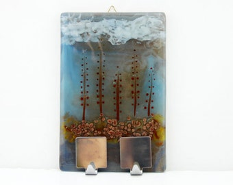 Wall Hanging Hooks, Fused glass woodland landscape Ornament wall decor by Virtulyglass