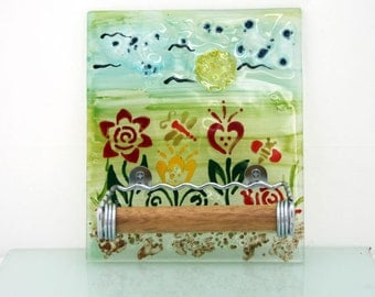 Toilet Paper Holder, Fused glass  spring flower.