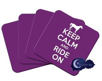 Keep Calm and Ride On, Equestrian - Set of Four Beverage Coasters