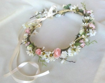 Boho Headband Bridal Flower crown Woodland hair garland halo wedding accessories Floral Fairy accessory circlet blush pink ivory headpiece