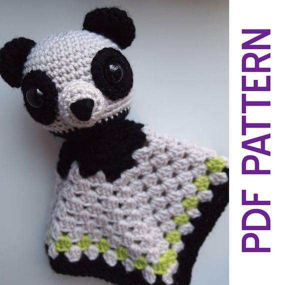 amigurumi panda bear security baby blanket lovey pdf crochet