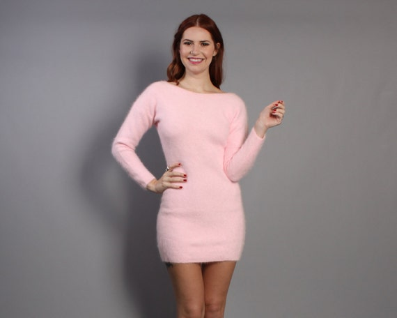 80s ANGORA Sweater DRESS / Pastel Pink Ultra Soft Mini xs-s