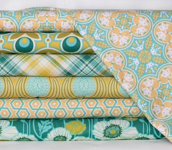 Art deco baby bedding modern custom crib bedding citron aqua teal yellow green blue - Deco babybed ...