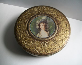 Vintage Tin Antigue Gold Shabby English Biscuit Tin Storage Container