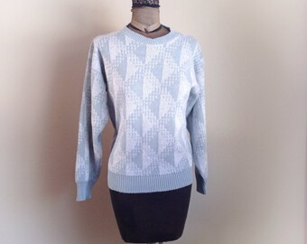 Vintage 1980s Gray Blue Tinsel Sweater As We Knit Inc