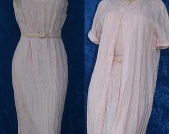 Vintage 50s 1950s Pink Pintucks Irish Linen Wiggle Dress Coat Set Mad Men Nardis of Dallas