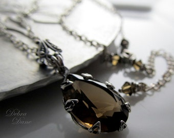 Smokey Quartz Estate Style Necklace, Smokey Topaz, Hollywood Glam, Bridal Jewelry