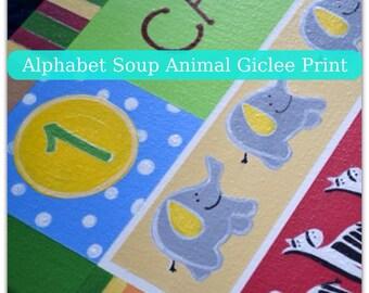 12x36 Alphabet Soup Animal Personalized Giclee Print