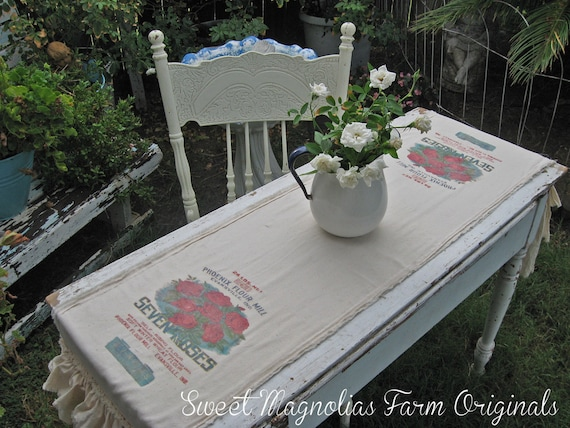"Feed Sack Table Runner - ""Seven Roses Flour"" - Farmhouse -Muslin - Triple Ruffles -  By:Sweet Magnolias Farm"