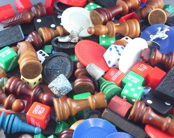 1 Pound of Assorted Game Pieces // Upcycle Goodie Bag // Inspiration Kit for Altered Art