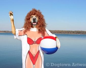 Bikini Dog, large original photograph of Boxer dog in bikini T-shirt enjoying the sun at a lakeside beach