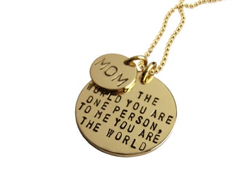 Solid 14K Mom Necklace Personalized Hand Stamped Inspirational Jewelry Custom Engraved Artisan Handmade Fine Designer Fashion Mother's Day