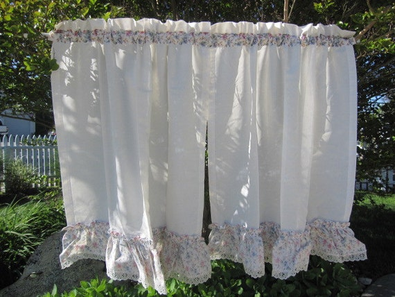 window curtains set of 2 ruffled edge cafe by thecottageway