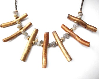 Gold coral necklace, labradorite statement necklace, tribal jewelry with brass beads