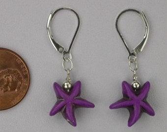 Purple Starfish Earrings