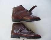 Vintage leather ankle boots with side buckle made in brazil women's size medium