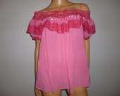 Vintage 70's - Pink - Cotton Gauze and Lace - Mexican - Peasant -  Boho - Hippie -Off the Shoulder - Blouse - marked size Large