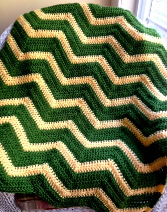 Crochet Pattern For John Deere Afghan : chevron zig zag ripple baby blanket afghan by ...