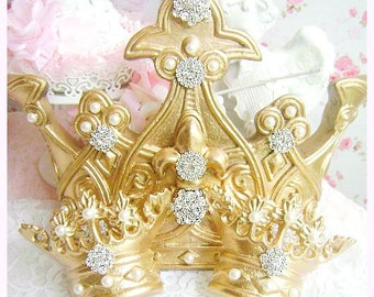 Queen Of Bling Golden Glam Bed Crown Canopy With Dazzling Rhinestones And Fleur De Lis