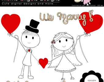 Adorable wedding Clipart - COMMERCIAL USE OK