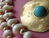 Gold Turquoise and Pearl Statement Necklace OOAK